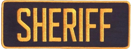 "SHERIFF Back Patch, Dark Gold/Navy, 11x4"""