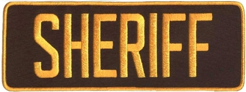 "SHERIFF Back Patch, Dark Gold/Brown, 11x4"""