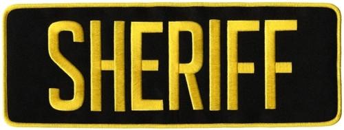 "SHERIFF Back Patch, Medium Gold/Black, 11x4"""