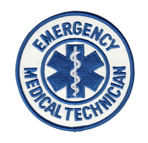 "EMT Shoulder Patch, Reflective, Reflective White, 3-1/2"" Cir"