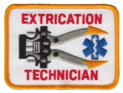 "EXTRICATION TECHNICIAN Shoulder Patch, 3-3/8 x 2-1/2"""