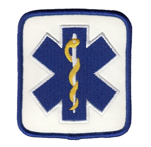 """Star of Life Shoulder Patch, Reflective, Reflective White, 2-7/8x3-1/8"""""""