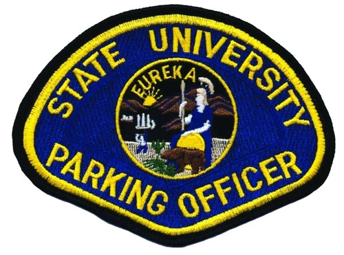 "STATE UNIVERSITY PARKING OFFICER Shoulder Patch, 4-1/2x3-1/2"""