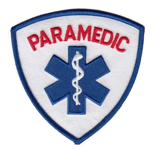 """PARAMEDIC Shoulder Patch, Red/Royal, 3-9/16x3-9/16"""""""