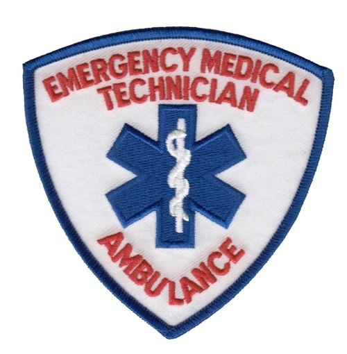 """EMT Shoulder Patch, w/ Ambulance, Red/Royal, 3-9/16x3-9/16"""""""