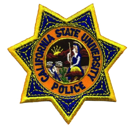 """CA STATE UNIVERSITY POLICE Star Badge Patch, 3x3"""""""