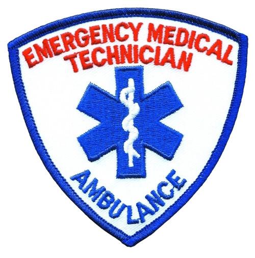 """EMT Shoulder Patch, w/ Ambulance, Royal/Royal, 3-9/16x3-9/16"""""""