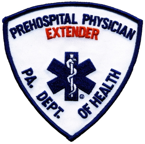 """PA DEPT OF HEALTH, PREHOSPITAL PHYS EXTENDER Shoulder Patch, 3-3/4 x 3-3/4"""""""