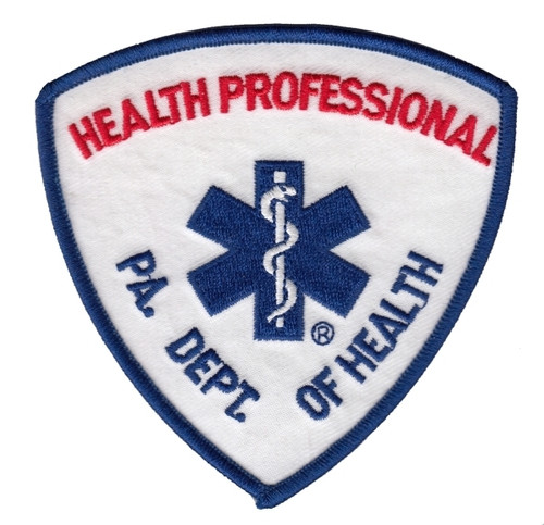 """PA DEPT OF HEALTH HEALTH PROFESSIONAL Shoulder Patch, 3-3/4x3-3/4"""""""