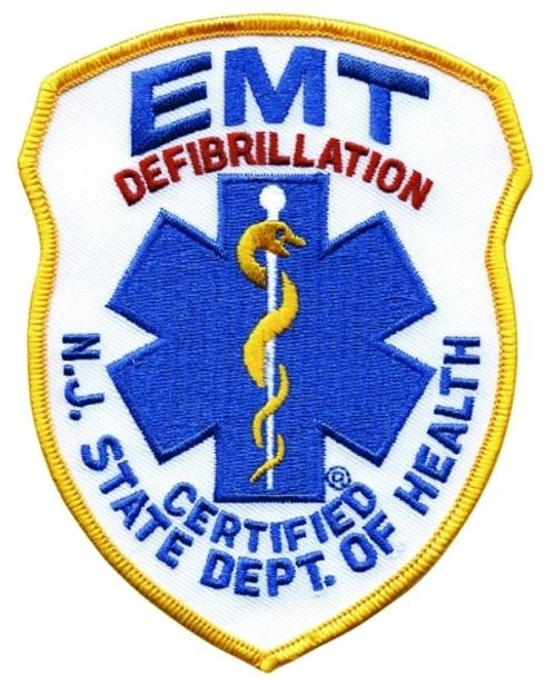 """NJ DOH EMT DEFIB Shoulder Patch, 4x5"""""""