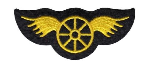 """Wheel w/Wings Patch, 2-3/4x1-1/4"""""""