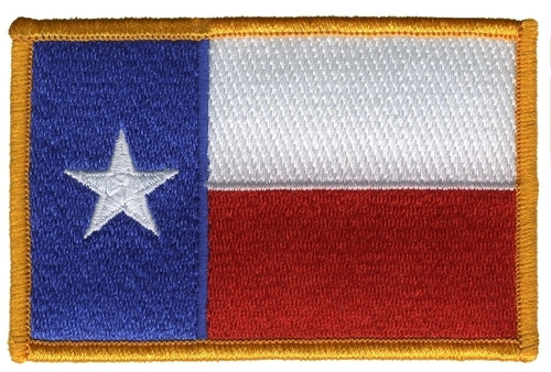 """Texas State Flag Patch, Full Color, 3-1/2x2-1/4"""""""