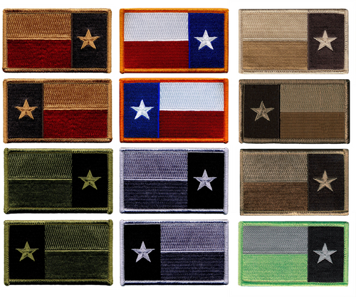 """Texas State Flag Patch, HOOK, 3-3/8x2"""""""