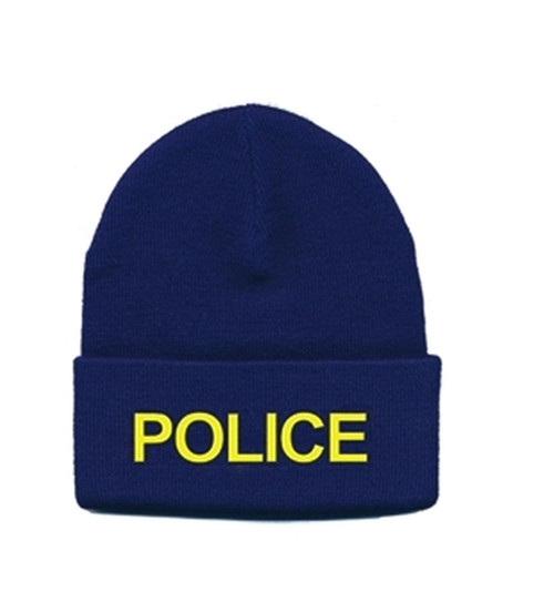 POLICE Watch Cap, Med Gold/Navy, One Size