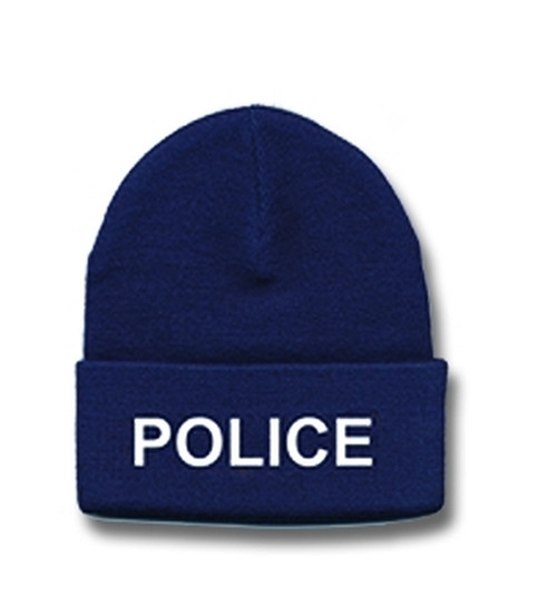 POLICE Watch Cap, White/Navy, One Size Fits All