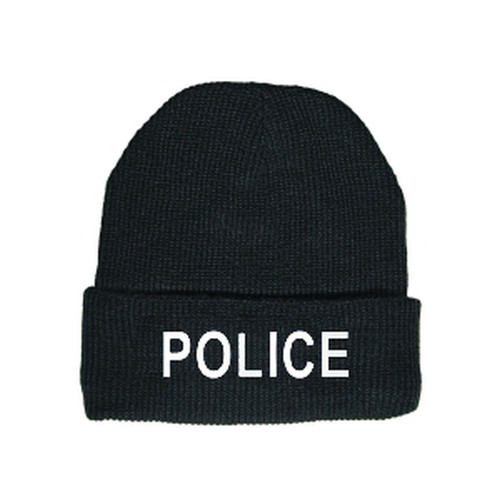 POLICE Watch Cap, White/Black, One Size Fits All
