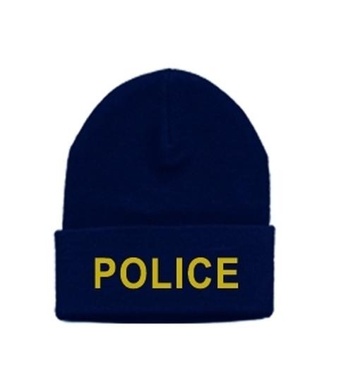 POLICE Watch Cap, Med Gold/Dark Navy, One Size