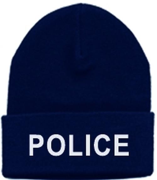 POLICE Watch Cap, White/Dark Navy, One Size