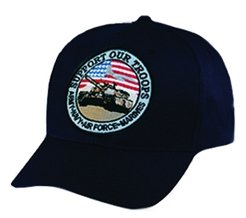 SUPPORT OUR TROOPS Cap, Black, Adjustable