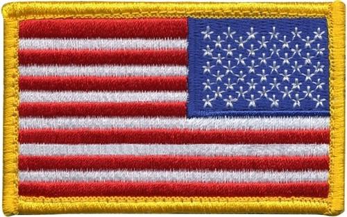 "U.S. Flag Patch, Reverse, Hook, 3-3/8x2"""