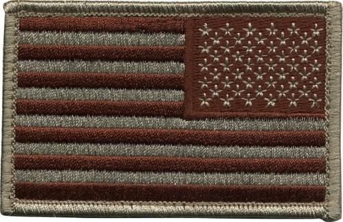 """U.S. Flag Patch, Reverse, Hook, Desert, 3-3/8x2"""""""