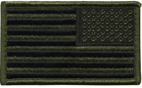 "U.S. Flag Patch, Reverse, Hook, O.D./Black, 3-3/8x2"""