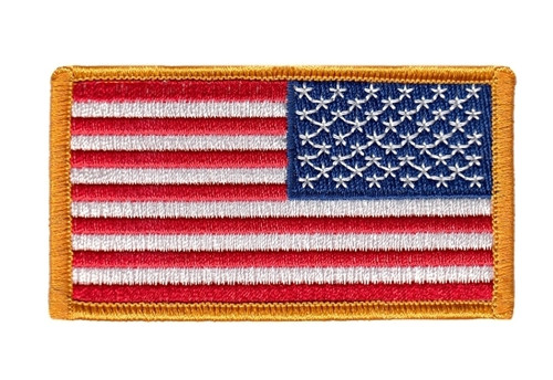 "U.S. Flag Patch, Reverse, Dk Gold Border, 3-1/4x1-13/16"""