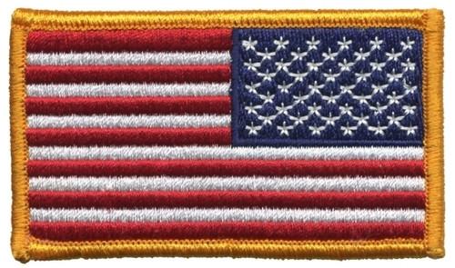 "U.S. Flag Patch, Reverse, Hook, Dk Gold Border, 3-1/4x1-13/16"""