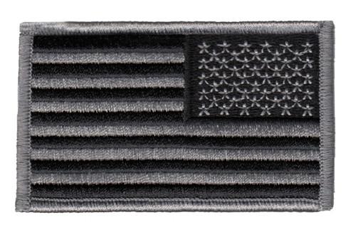 "U.S. Flag Patch, Reverse, Hook, Silver/Black, 3-3/8x2"""