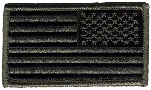 "U.S. Flag Patch, Reverse, Hook, ACU/Black, 3-1/4x1-13/16"""