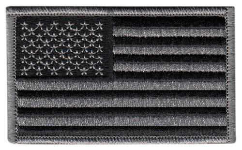"U.S. Flag Patch, Hook, Silver/Black, 3-3/8x2"""