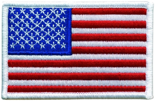 "U.S. Flag Patch, White Border, 3-1/2x2-1/4"""