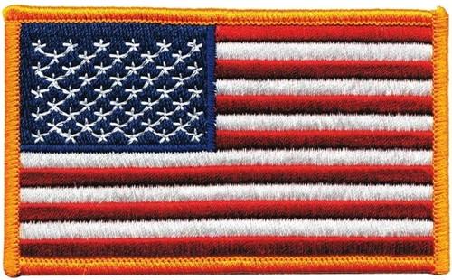 """U.S. Flag Patch, EMR1AF, Dark Gold Border, 4x2-1/2"""""""