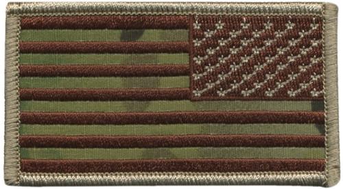 """U.S. Flag Patch, Reverse, Hook, Desert/OCP,3-1/4x1-13/16"""""""
