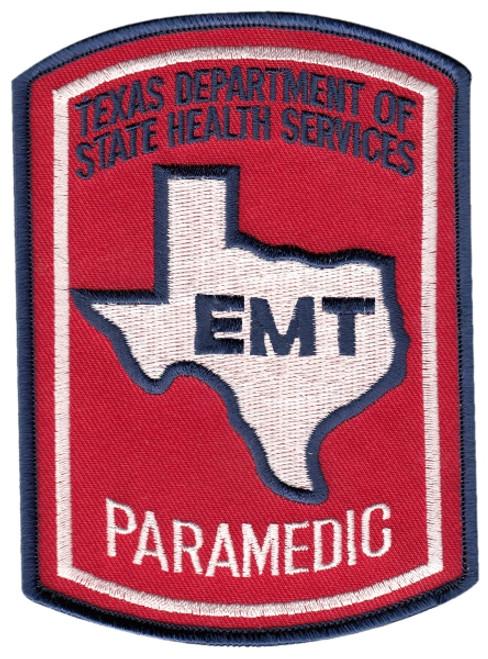 """TEXAS EMT PARAMEDIC Shoulder Patch, Full Color, 3-5/8x5"""""""