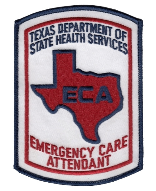"""TEXAS EMERGENCY CARE ATTENDANT Shoulder Patch, Full Color, 3-5/8x5"""""""