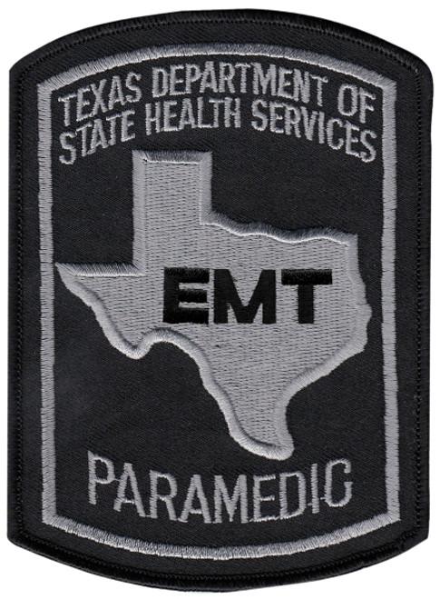 "TEXAS EMT PARAMEDIC Shoulder Patch, Black/Grey, 3-5/8x5"""
