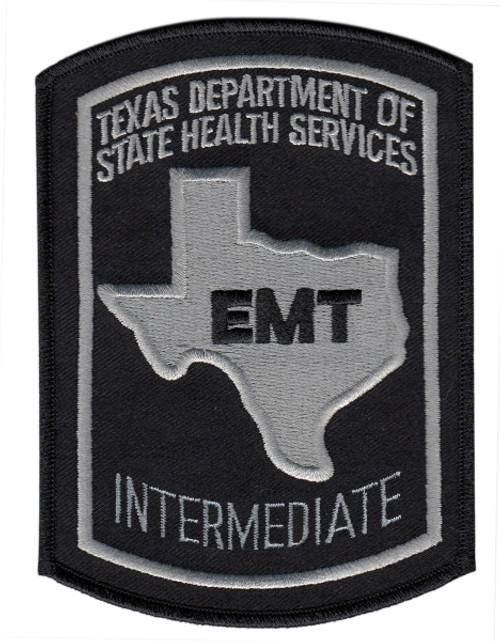 "TEXAS INTERMEDIATE Shoulder Patch, Black/Grey, 3-5/8x5"""