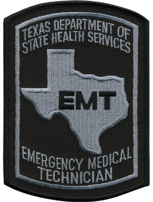 "TEXAS EMT Shoulder Patch, Black/Grey, 3-5/8x5"""