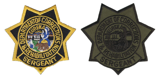 """CDCR SGT Star Badge Patch, 3x3"""""""