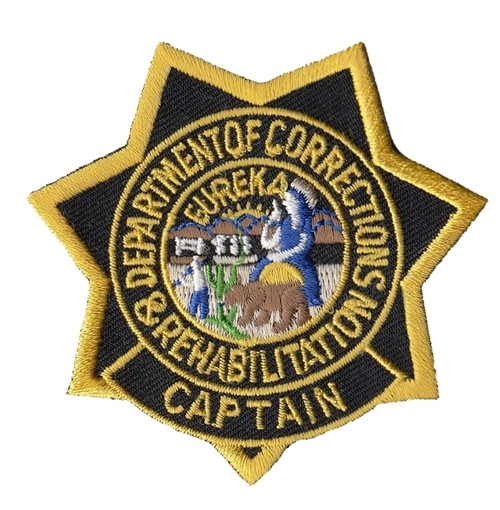 """CDCR Captain Star Badge Patch, Full Color, 3x3"""""""