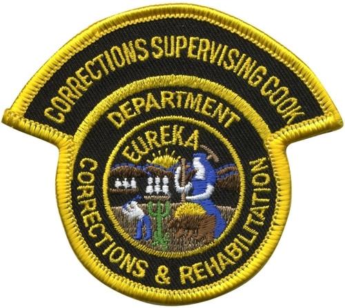 "CA DEPT OF CORRECTIONS & REHABILITATION SUPERVISING COOK Shoulder Patch, 3-3/8x2-13/16"""