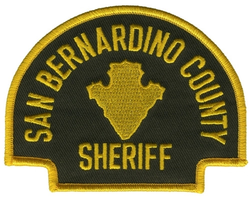 "SAN BERNARDINO COUNTY SHERIFF Shoulder Patch, O.D./Black, 4x3"""