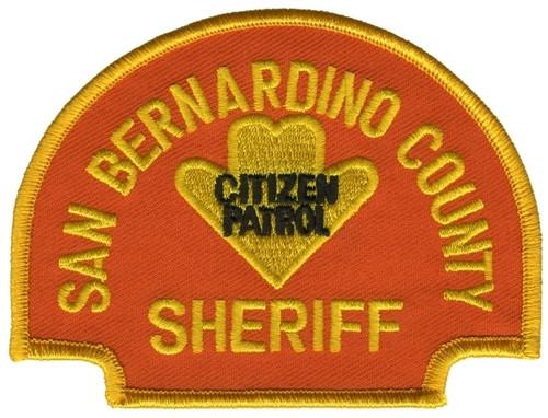 "SAN BERNARDINO COUNTY SHERIFF CITIZEN PATROL Shoulder Patch, Orange, 4x3"""