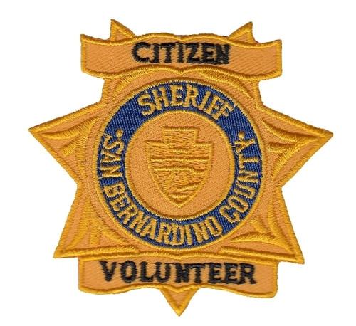 "CA SAN BERNARDINO COUNTY SHERIFF CITIZEN VOLUNTEER Patch, Star, 2-7/8x2-3/4"""