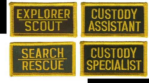 "CUSTODY ASSISTANT Tab Patch (San Bernardino Sheriff)2-3/8x1-1/4"""