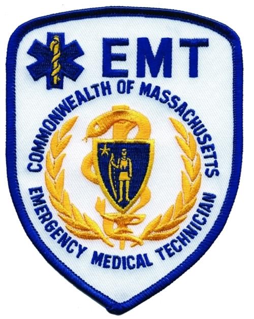 "COMM OF MASS EMT Shoulder Patch, 3-3/4x5"""