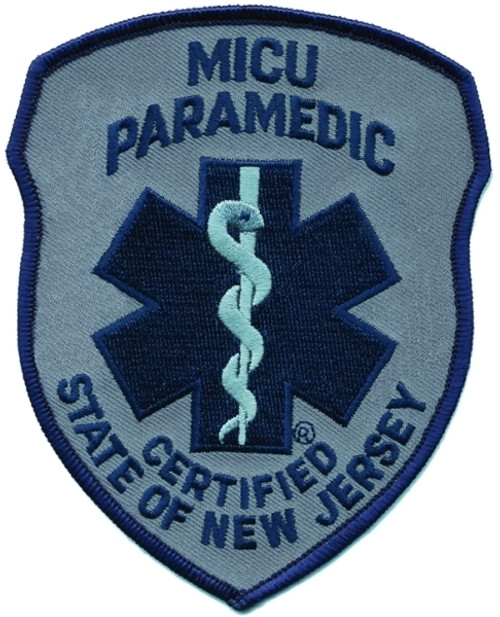 "NJ MICU PARAMEDIC Shoulder Patch, Navy/Grey, 4x5"""