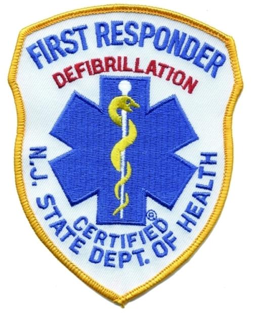 """NJ DOH FIRST RESPONDER DEFIB Shoulder Patch, 4x5"""""""