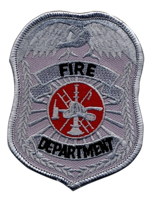 """FIRE DEPARTMENT Badge Patch, Silver, 2-1/2x3-1/2"""""""